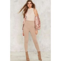 Perfect Strangers High-Waisted Leggings (585 ARS) ❤ liked on Polyvore featuring pants, leggings, beige, army green leggings, olive leggings, high waisted pants, legging pants and spandex pants