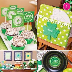 {Party of 5} St. Patricks Day Party, Oscar Party, Tea Party First Birthday, Silver & Pink Baby Shower & Enchanted Forest Dessert Table