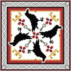 Morrigans Ravens Cross Stitch Pattern by Crow Haven Cottage Wicca Celtic Goddess on eBay!