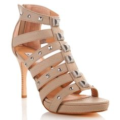 Hot in Hollywood Studded Snake-Print Cage Sandal