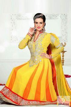 Pavitraa #Gorgeous #Yellow and #Orange #Bridal #Salwar Suit