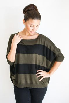 olive and black striped sweater – gallery. boutique