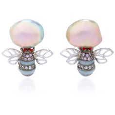 Anabela Chan     Mini Bumble Earrings ($1,255) ❤ liked on Polyvore featuring jewelry, earrings, white, white earrings, white jewelry and earring jewelry