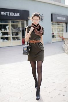 olive dress with leather belt