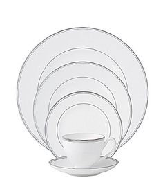 This simple yet elegant white bone china features a polished platinum inner ring and trim. The 5-piece place setting includes dinner plate, salad plate, bread and butter plate, cup and saucer. Dishwasher safe. Made in Great Britain. Waterford Kilbarry Platinum China | Dillards.com
