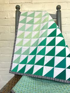 SALE Ombre half square triangle quilt gender neutral seaglass