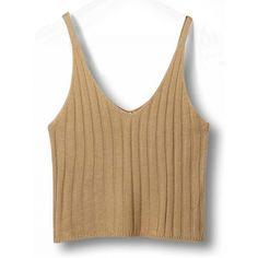 bab591ecb7d98 Choies Khaki V-neck Spaghetti Strap Knit Crop Top (26 TND) ❤ liked