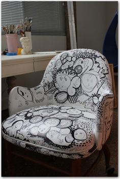 Make A Bunch Of Cool Fabric Designs On Old Chairs You Have. Like This  Sharpie Chair.