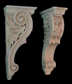Wood Carved Corbel - Oak Leaf Pair