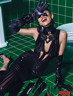 Anja Rubik goes about her daily duties wearing the most luxe bathroom attire in 'Do Not Disturb' shot by Mario Sorrenti, styled by Marie Chaix for the March '13 issue of Vogue Paris.