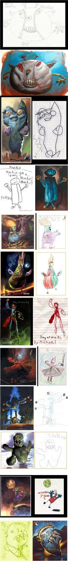 Children's art drawn realistically.