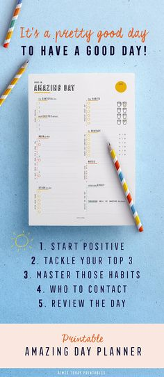 Daily planner printable to help you plan an amazing day! Everything you need to have a great day on 1 page. Gratitude, top 3, habits, to contact + daily review! #printable #printables #dailyplan #dailyplanner #dayplanner #plannerinserts #planneraddict #printableplanner #planwithme #planning #plannerlove #plannercommunity #planner