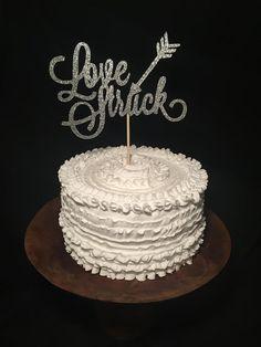 Love Struck Birch Wood Cake Topper