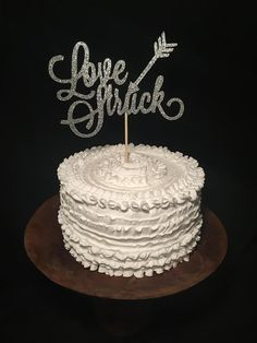 Love Struck Birch Wood Cake Topper