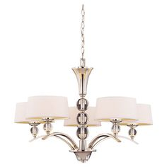 Add a touch of glamour to your foyer or dining room with this elegant chandelier, featuring glass orb accents and a polished nickel finish.