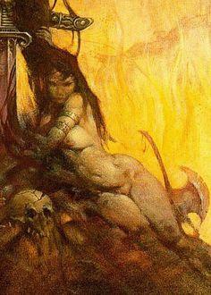 Frazetta_Conan the Adventurer_Woman and Axe (detail)
