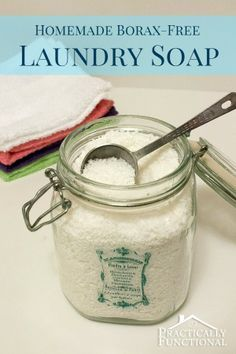 This is one I will make!  Avoid harsh, toxic chemicals in your laundry with this homemade borax free laundry detergent! It's cheaper than commercial laundry soap and cleans just as well or better!