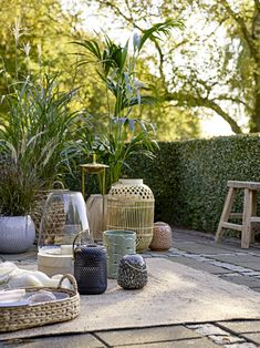 The sun has got his hat on so prepare your outdoor space with our 9 patio dining ideas, from updating your tableware to perfect garden lighting. Garden Furniture, Outdoor Furniture Sets, Outdoor Decor, Glass Candelabra, Ceramic Lantern, Wooden Lanterns, How To Make Lanterns, Candle Holder Set, Outdoor Settings