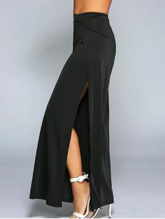 High Slit Wide Leg Pants - BLACK M
