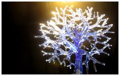 recycled blue glass tree