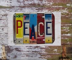 Funky Peace Word Block - Custom Words Available - Recycled Vintage License Plate Sign Art - Salvaged Wood - Upcycled Artwork