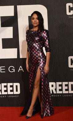Tessa Thompson in Marc Jacobs at he Creed UK Premiere