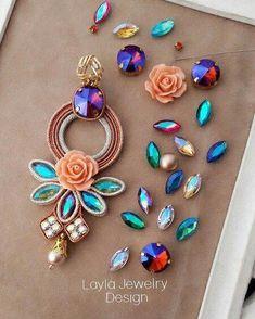 Soutache earrings by Layla Jewelry Beaded Tassel Earrings, Soutache Jewelry, Pendant Earrings, Earrings Handmade, Handmade Jewelry, Bridal Jewelry, Diy Jewelry, Jewelery, Vintage Jewelry
