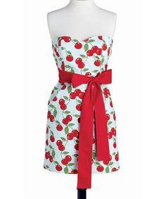 vintage Jessie Steele, sweet-as-cherry-pie, strapless hostess apron with corset boning and a wrap-around front tie Cherry Oh Baby, Retro Fashion, Vintage Fashion, Vintage Style, Cherries Jubilee, Bib Apron, Apron Diy, Cute Aprons, Retro Apron