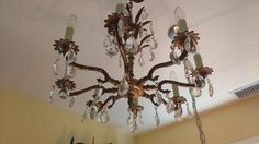 Vintage Solid Brass & Crystal Chandelier on Chairish.com