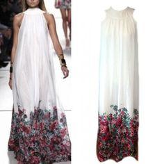 Ink Floral Print Sleeveless Halter Dress