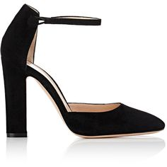 "Gianvito Rossi Women's ""54"" Suede Mary Jane Pumps found on Polyvore featuring shoes, pumps, heels, black, colorless, high heel shoes, black pumps, black high heel shoes, mary-jane shoes and black mary janes"