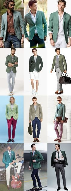 Key Mens Blazers for 2015 Spring/Summer: The Green Blazer Lookbook Inspiration