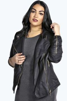 Plus Eliza Quilted Faux Leather Biker Jacket
