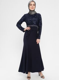 The perfect addition to any Muslimah outfit, shop Al-Marah's stylish Muslim fashion Navy Blue - Multi - Fully Lined - Crew neck - Muslim Evening Dress. Find more at Modanisa! Modest Clothing, Modest Outfits, Muslim Evening Dresses, Navy Blue Dresses, Muslim Fashion, Crew Neck, High Neck Dress, Elegant, Long Sleeve