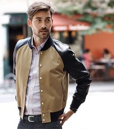 Baseball leather jacket? ... why not!  It's perfect for get warm and chic