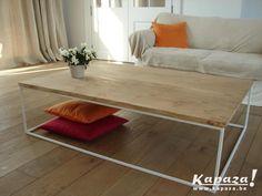 Nieuwe salontafel-blad in eik, wit onderstel staal oost-vlaanderen