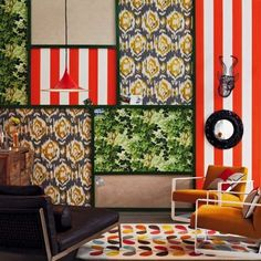 Collage of wallpaper (via Living Etc.)