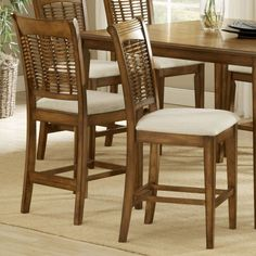Hillsdale Bayberry 24 Inch Non-Swivel Counter Stool - Oak - Set of 2 - 4766-822