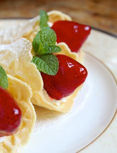 Pizzelle (aka Ferratelle): Cookies, Cups, Cones and More with Strawberries and Cream - Christina's Cucina Fancy Desserts, Italian Desserts, Just Desserts, Italian Foods, Italian Dishes, Italian Recipes, Waffle Cookies, Ice Cream Cookies, Pizzelle Cookies