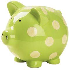Green polka dot piggy bank
