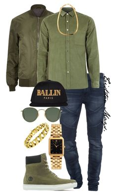 """""""The Colour Of Money."""" by monroestyles ❤ liked on Polyvore featuring River Island, True Religion, Topman, Timberland, American Apparel, Ray-Ban, Alex and Chloe, International, women's clothing and women"""