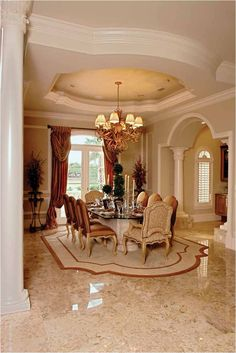 burgundy dining rooms   Burgundy and cream formal dining room ...
