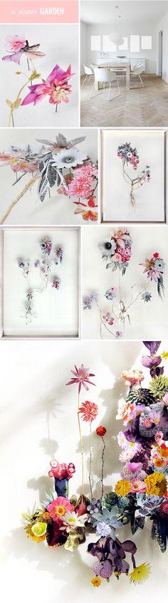 paper cut & pressed flowers, pinned & framed by utrecht based artist anne ten donkelaar. Flower Crafts, Diy Flowers, Flower Art, Paper Flowers, Diy Paper, Paper Art, Paper Crafts, Diy Crafts, Illustration Manga