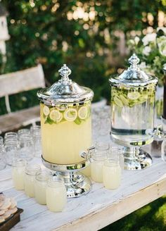 2. Set Up Drink Stations. Create a vignette with a beverage dispenser and glasses. It'll look super cute and guests can serve themselves a refreshing drink.