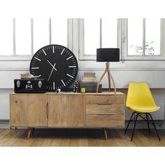Mueble de entrada con espejo de metal negro an 100 cm - Maisons du monde ouvert dimanche ...