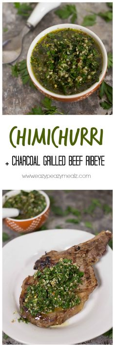 Chimichurri: A quick,e asy and flavorful recipe, plus tips for grilling ribeye over charcoal! Make the perfect steak!  #ad #kingsfordflavor - Eazy Peazy Mealz