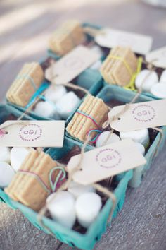 S'mores favors in berry baskets.