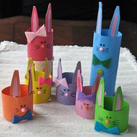 bunnies! My kids could totally make these with recycled toilet paper rolls