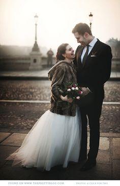 Soft brown coat over wedding dress Elope Wedding, Wedding Gowns, Elopement Wedding, Brown Fur Coat, Paris Elopement, Romantic Scenes, Ever After, Portrait, Wedding Photos