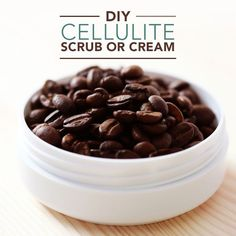 DIY Cellulite Scrub or Cream- love all these DIY, natural products you can make at home. #cellulite #diycoffeescrub